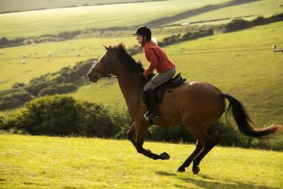Woman training on horse in English countryside
